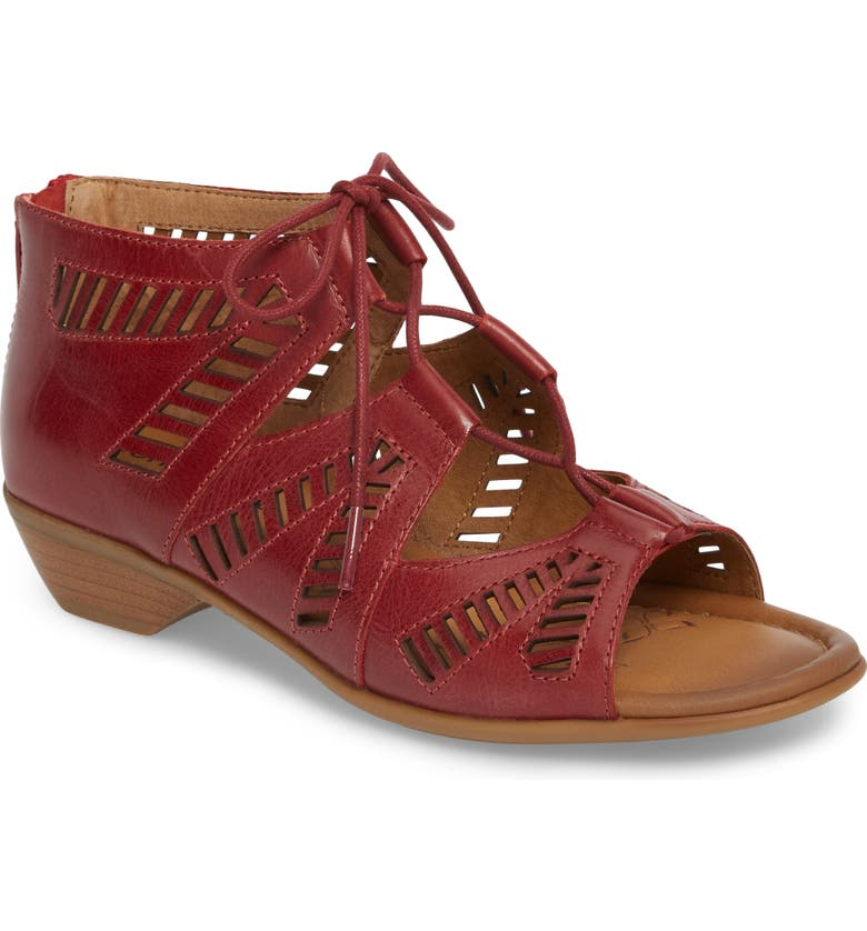 COMFORTIVA Riley Ghillie Sandal, Main, color, CHERRY RED LEATHER
