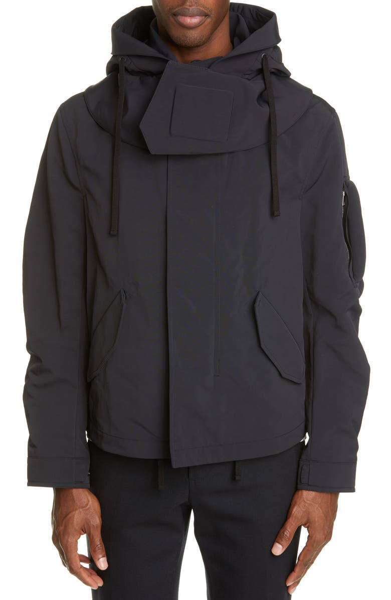 BOTTEGA VENETA Tech Hooded Jacket, Main, color, BLACK