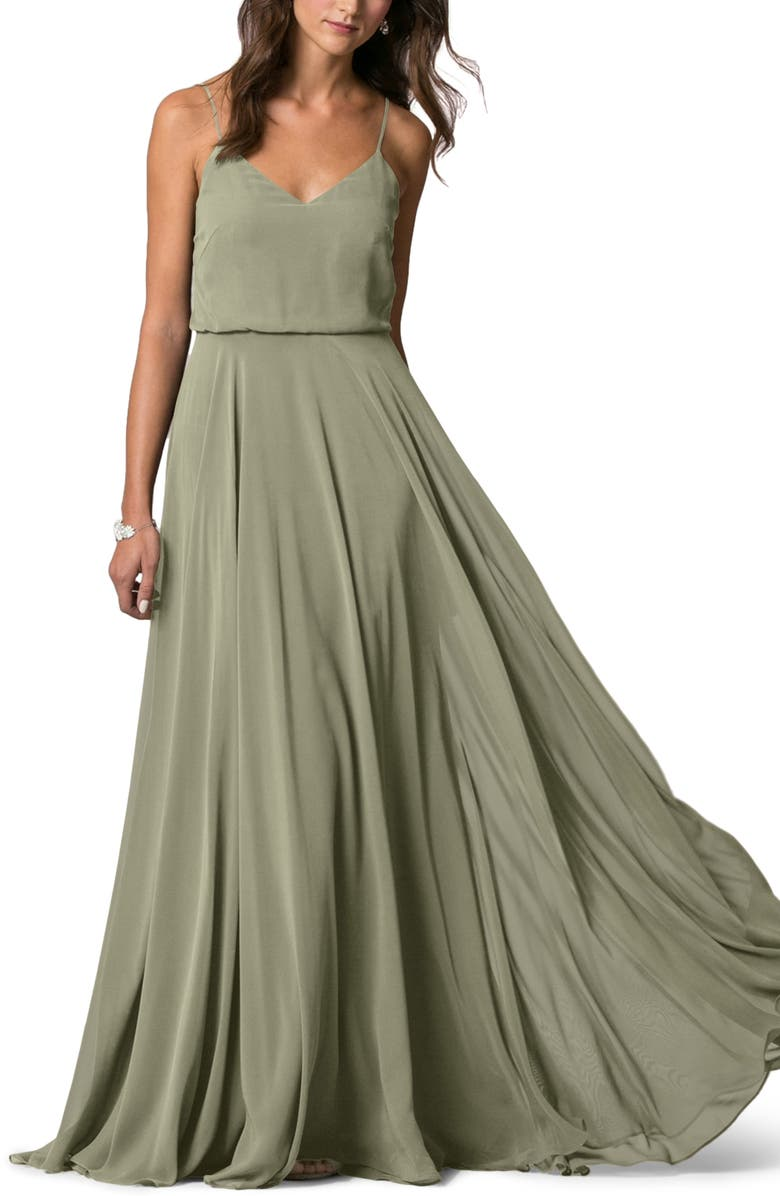 JENNY YOO Inesse Blouson Chiffon A-Line Gown, Main, color, 312