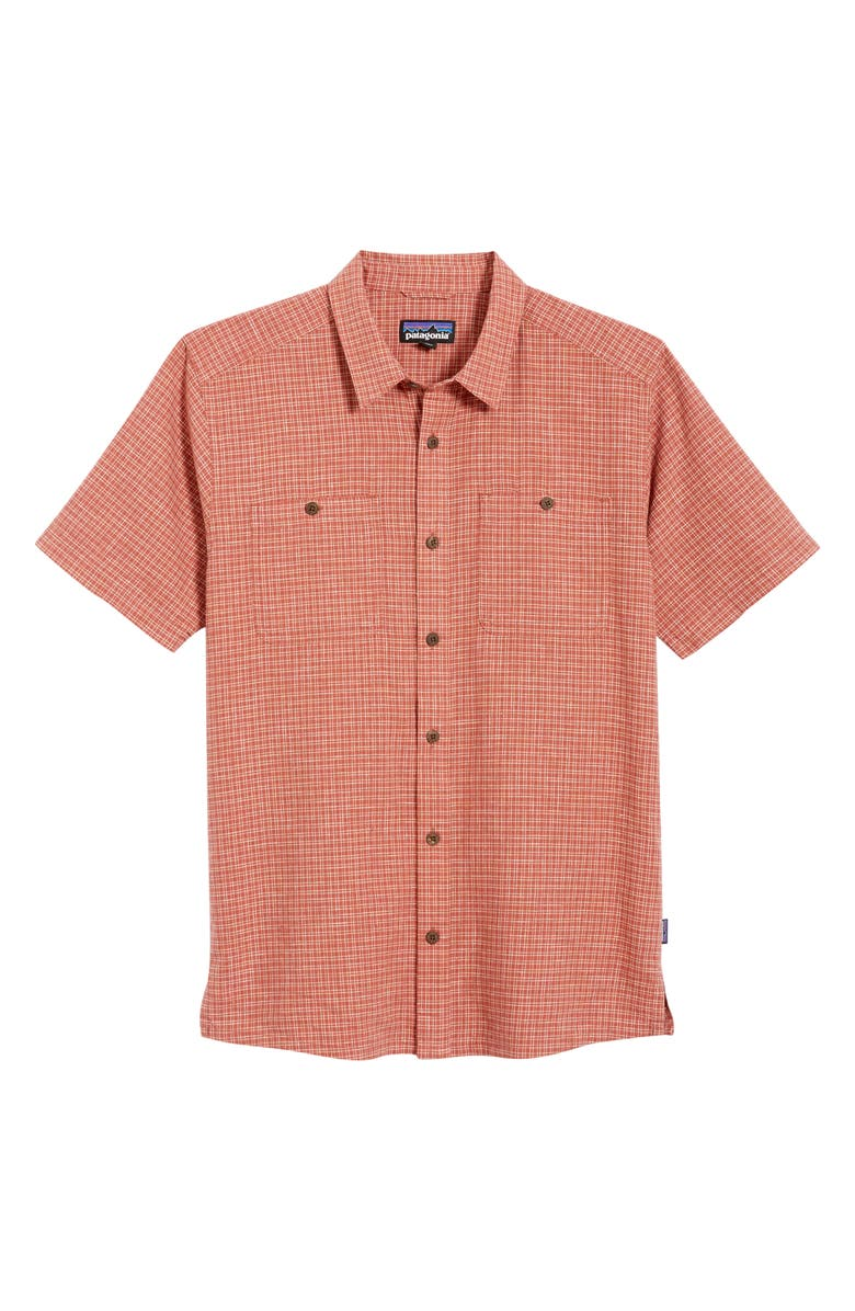 PATAGONIA 'Back Step' Regular Fit Check Short Sleeve Sport Shirt, Main, color, TRAILS/ SPANISH RED