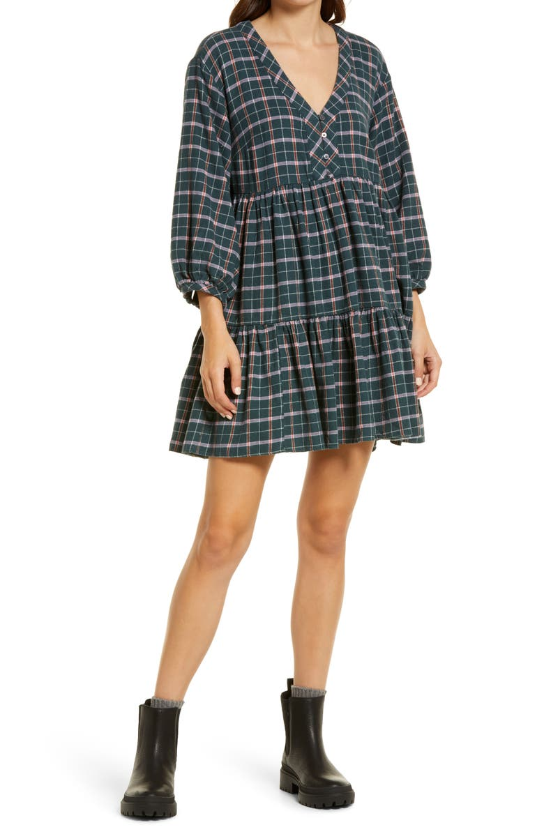 MADEWELL Colette Plaid Cotton Flannel Minidress, Main, color, MIDNIGHT GREEN