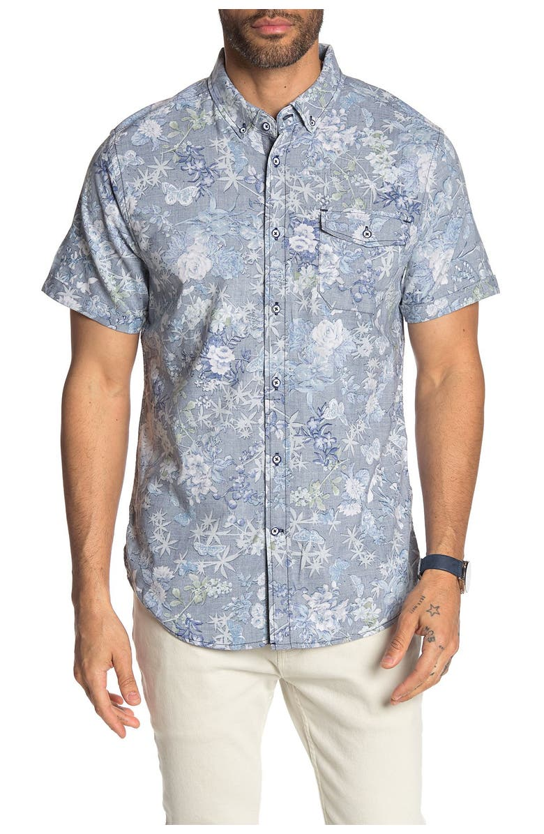 REPORT COLLECTION Short Sleeve Floral Print Stretch Slim Fit Shirt, Main, color, 41 NAVY