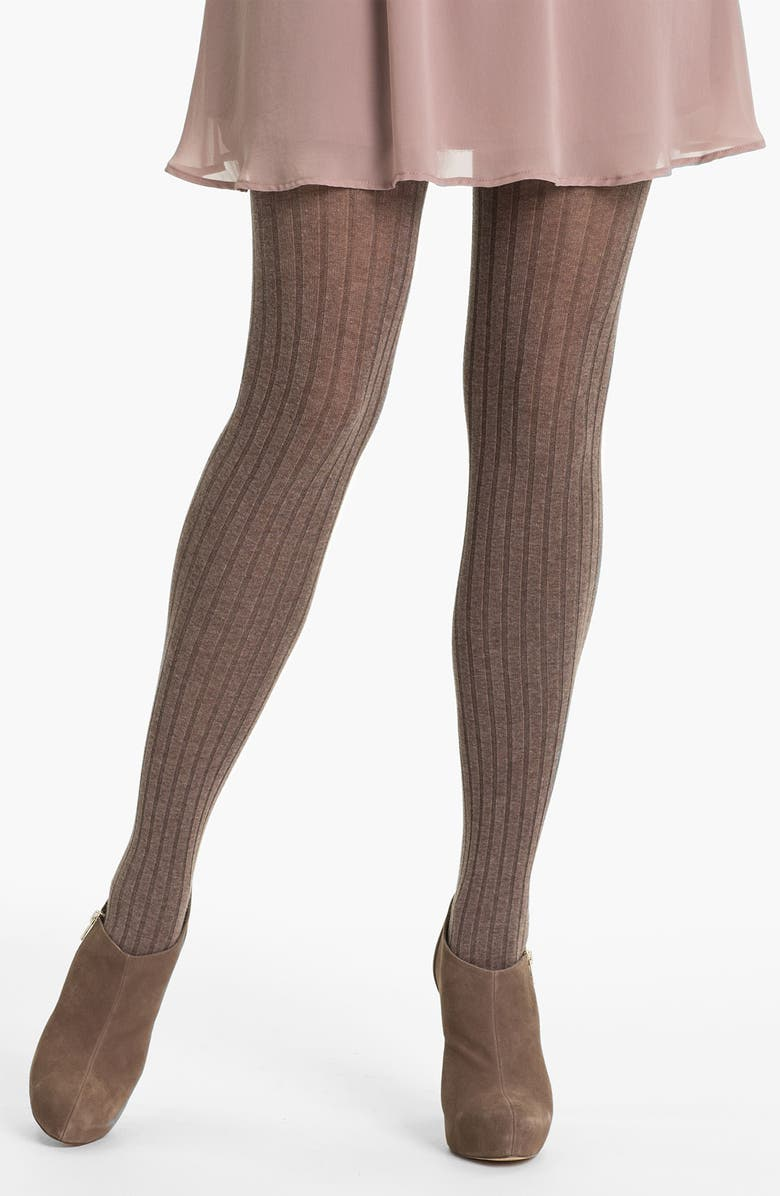 OROBLU 'Angela' Ribbed Cotton Tights, Main, color, NUT