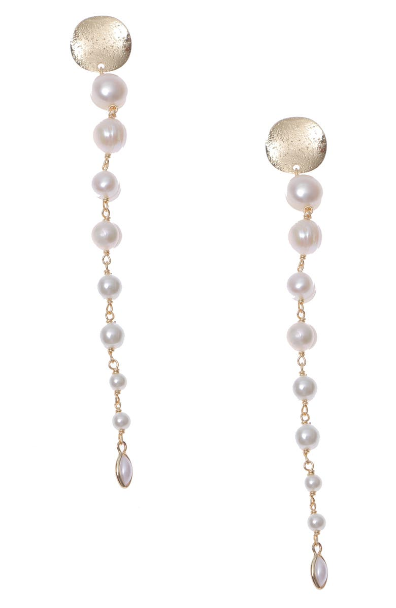 NAKAMOL CHICAGO Cultured Pearl Linear Drop Earrings, Main, color, 100