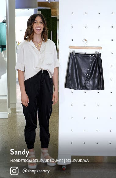 Snap Faux Leather Skirt, sales video thumbnail