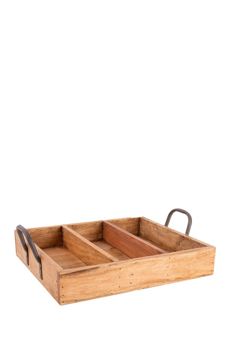 HOME ESSENTIALS AND BEYOND Reclaimed Wood Box with Divider, Main, color, NO COLOR