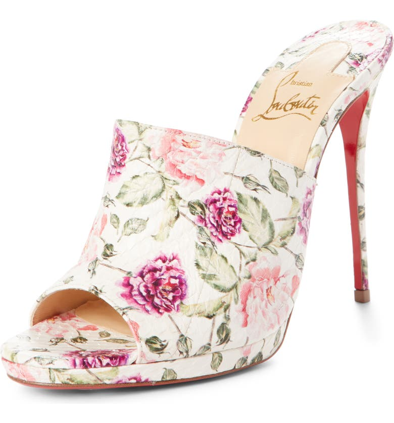CHRISTIAN LOUBOUTIN Floral Pigalle Genuine Snakeskin Mule, Main, color, 112