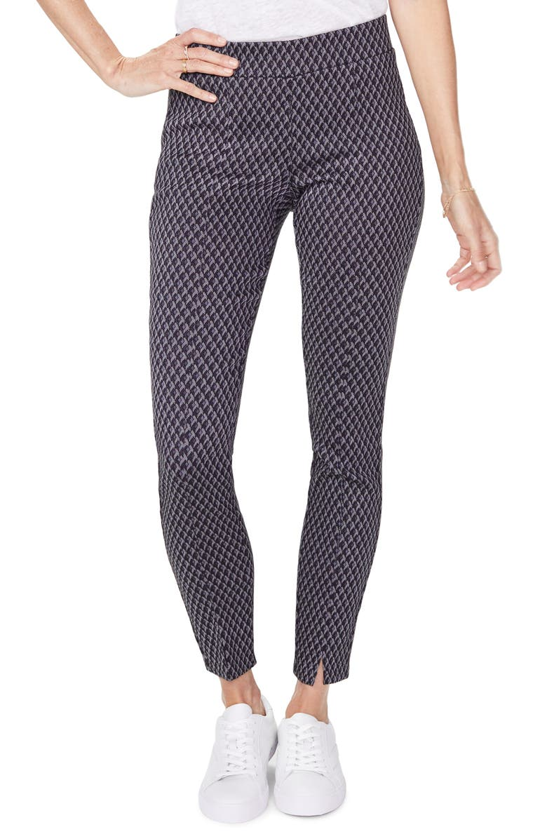 NYDJ Front Slit Geo Pattern Leggings, Main, color, CHARCOAL DIAMOND