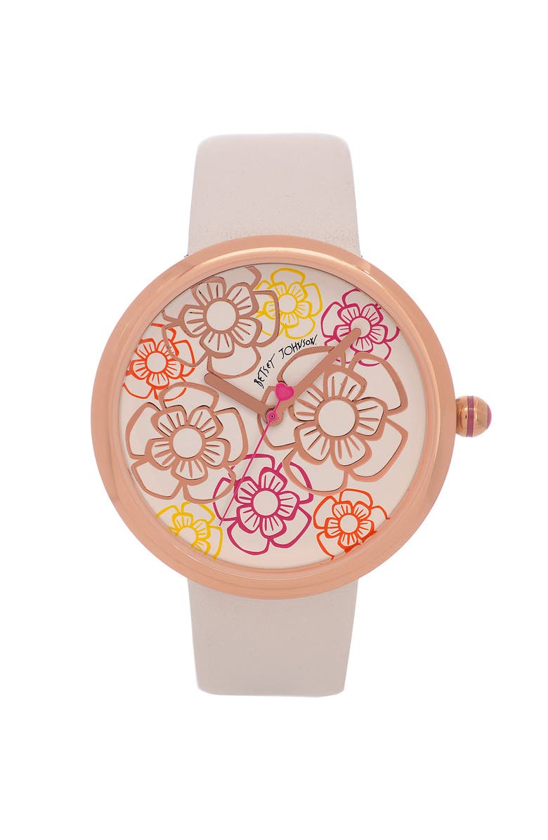 BETSEY JOHNSON Floral Dial Watch, Main, color, White