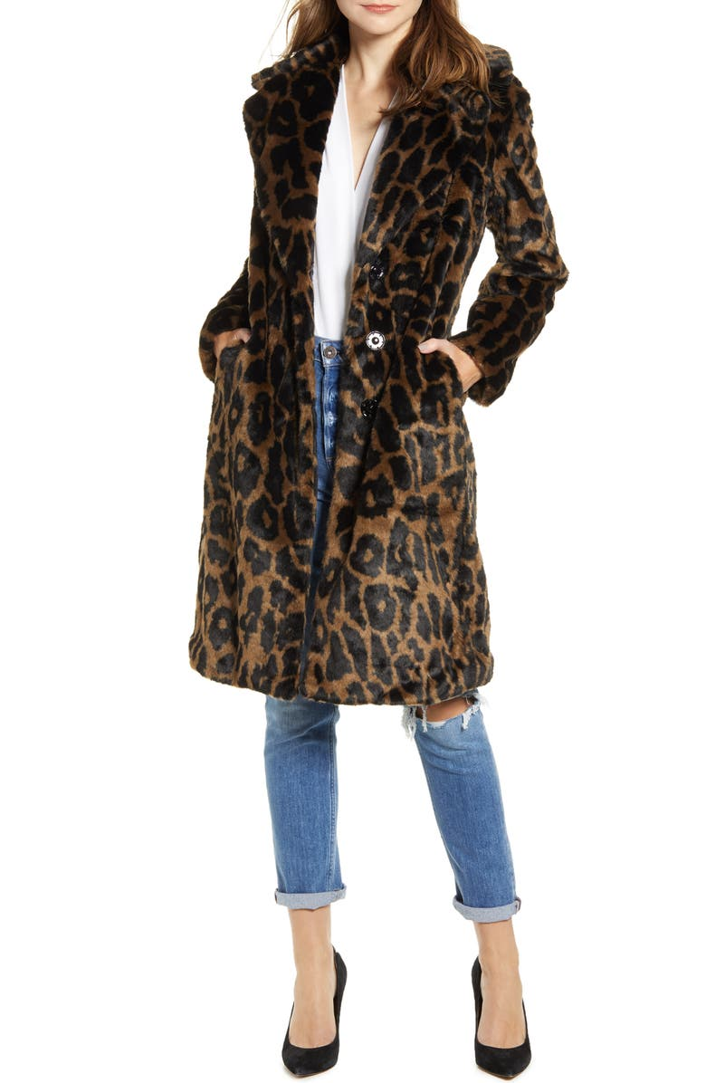 KENDALL + KYLIE Reversible Water Resistant Faux Fur Coat, Main, color, 200