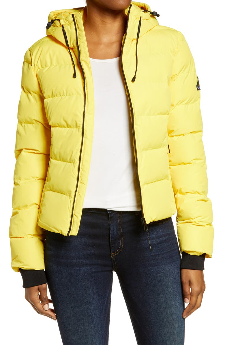 SUPERDRY Spirit Sports Puffer Jacket, Main, color, NAUTICAL YELLOW