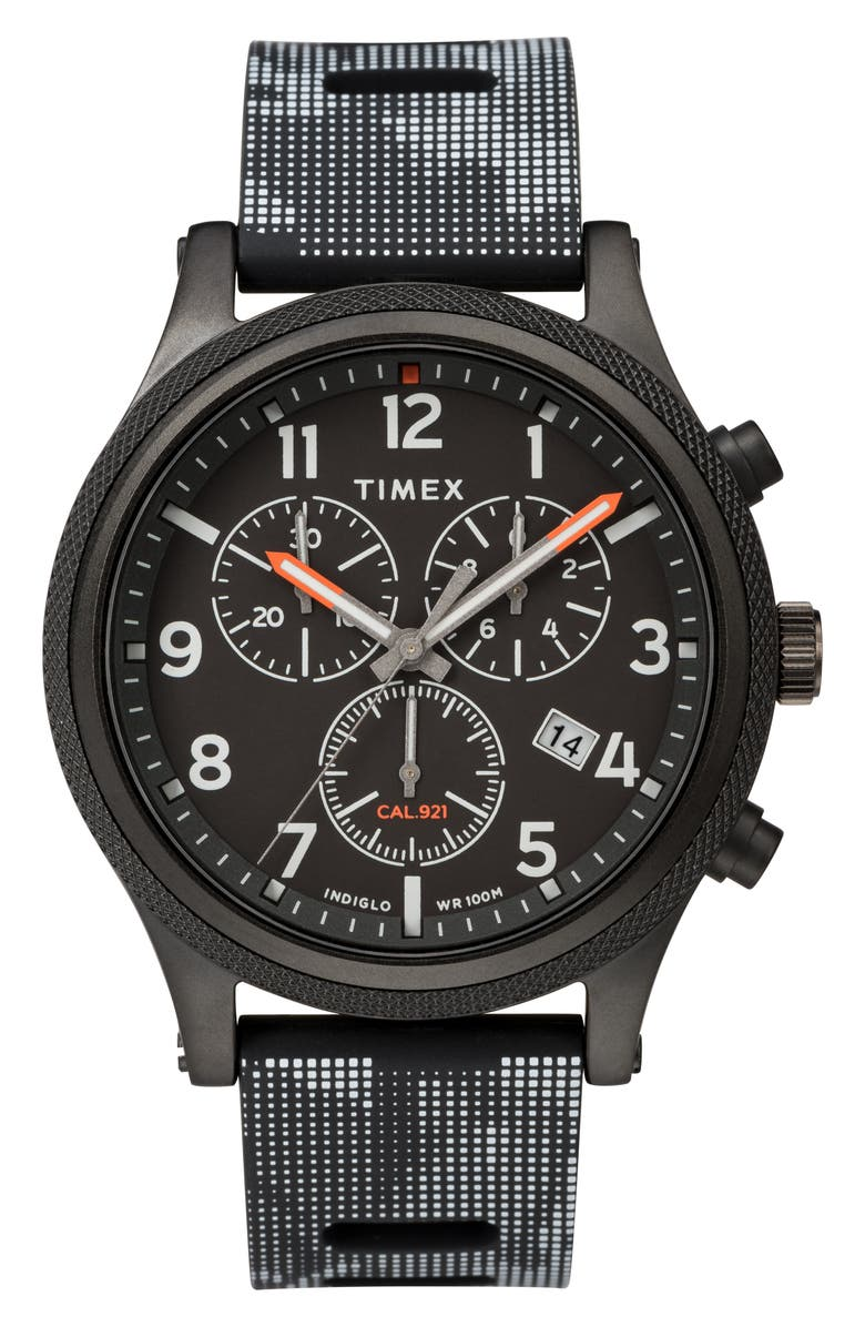 TIMEX<SUP>®</SUP> ARCHIVE Allied Chronograph Silicone Strap Watch, 42mm, Main, color, 001