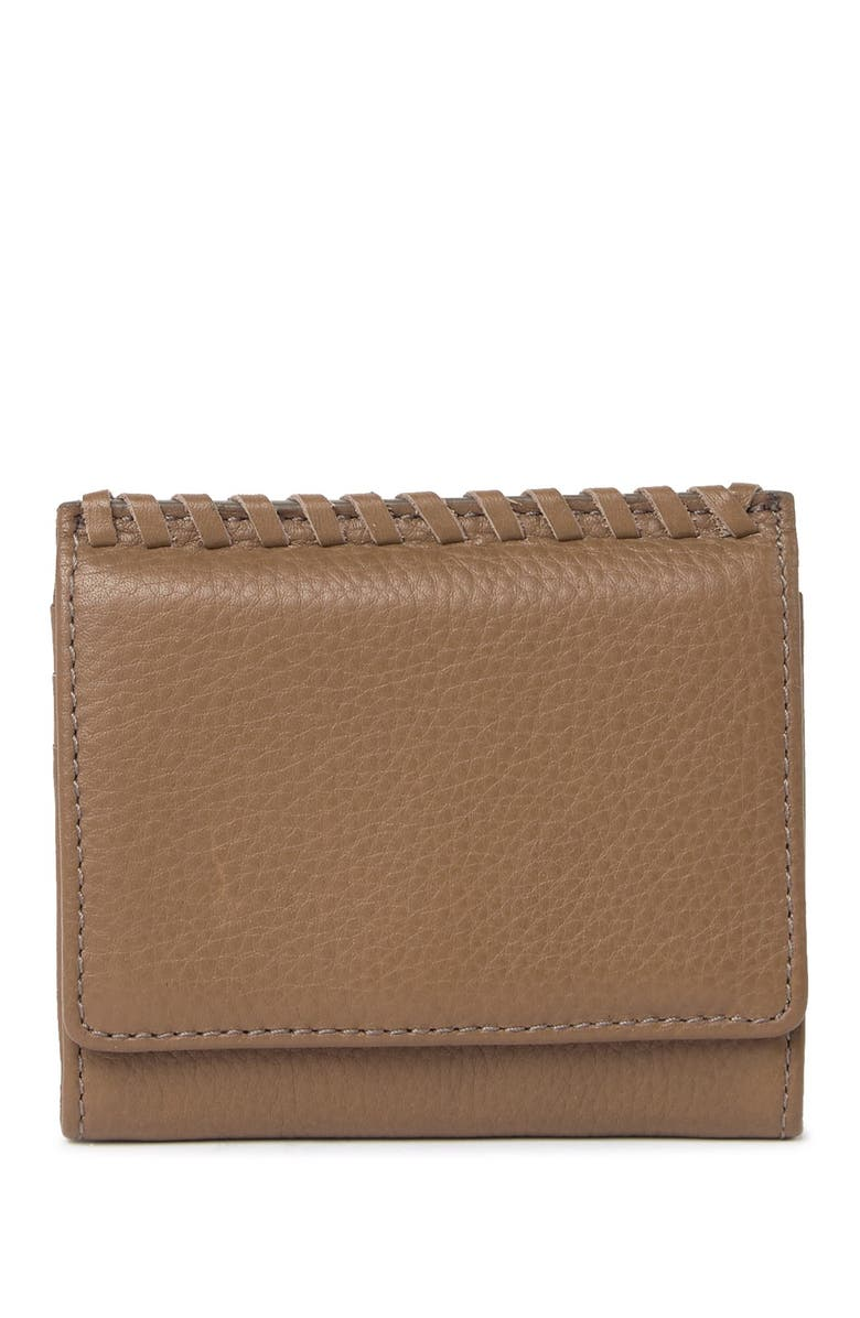 HOBO Stitch Leather Credit Card Case, Main, color, GRAYSTONE