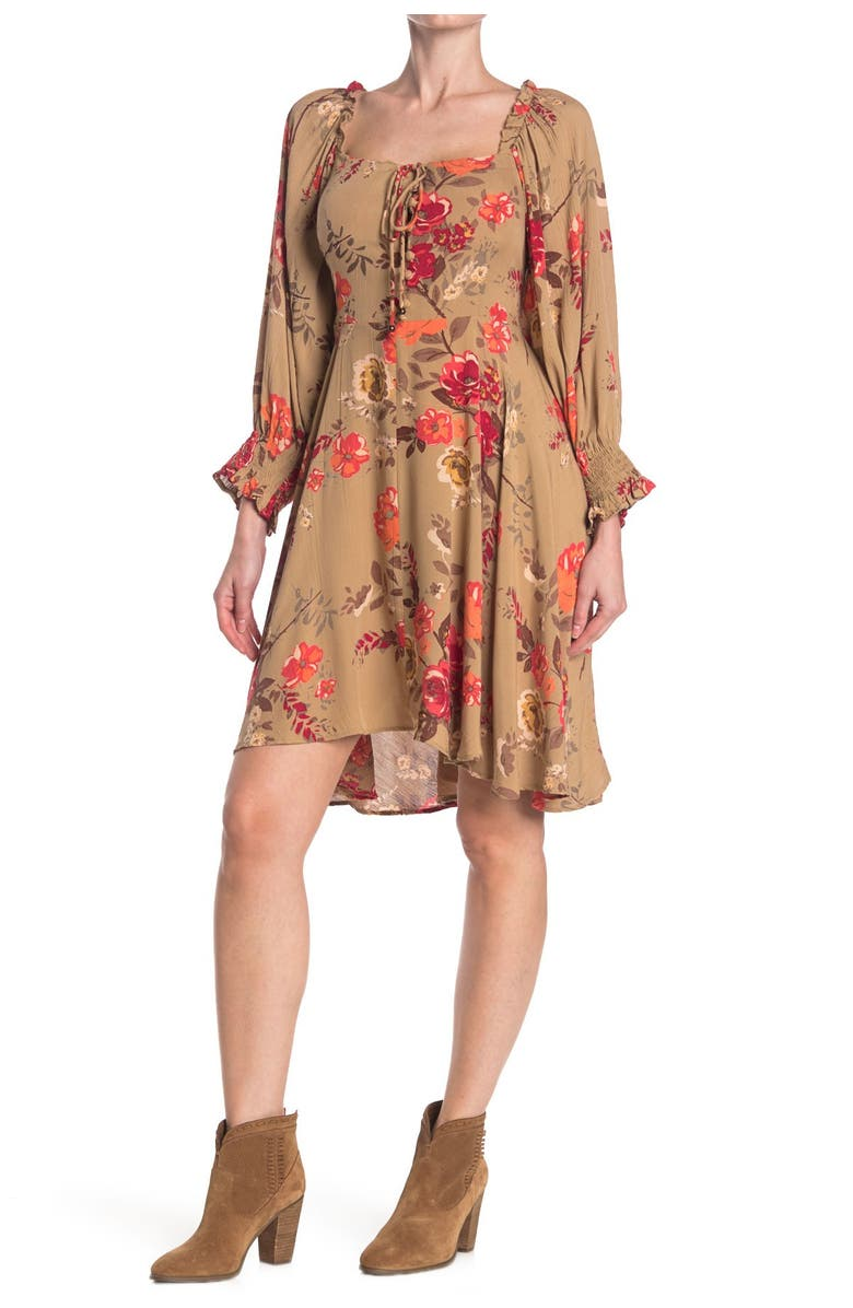 ANGIE Long Sleeve Printed Tie Front Dress, Main, color, TAUPE
