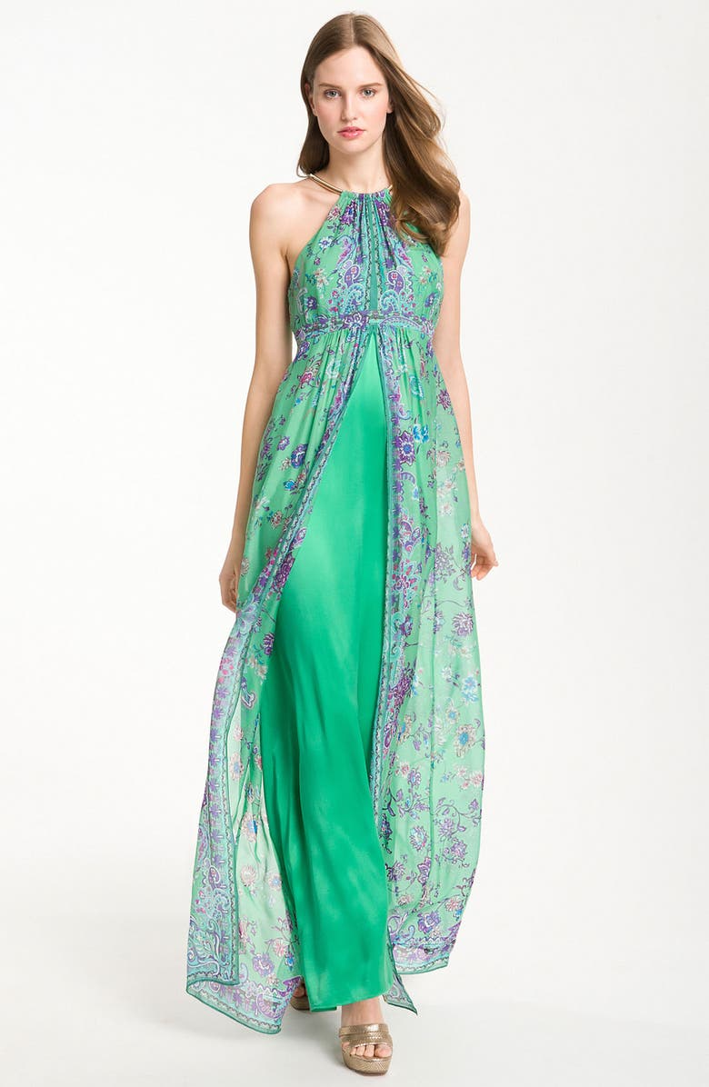 LAUNDRY BY SHELLI SEGAL Split Chiffon Overlay Halter Gown, Main, color, HOLLY MULTI