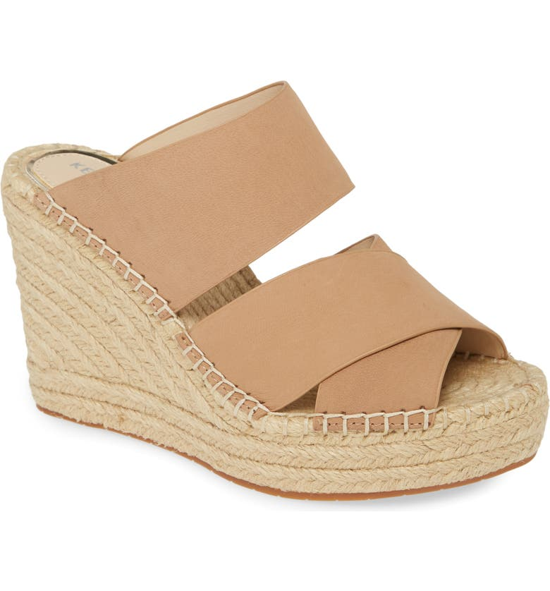KENNETH COLE NEW YORK Olivia Wedge Slide Sandal, Main, color, SAND NUBUCK LEATHER