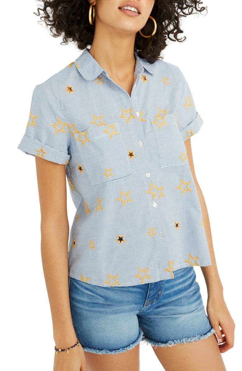 MADEWELL Star Embroidered Stripe Shirt, Main, color, 400