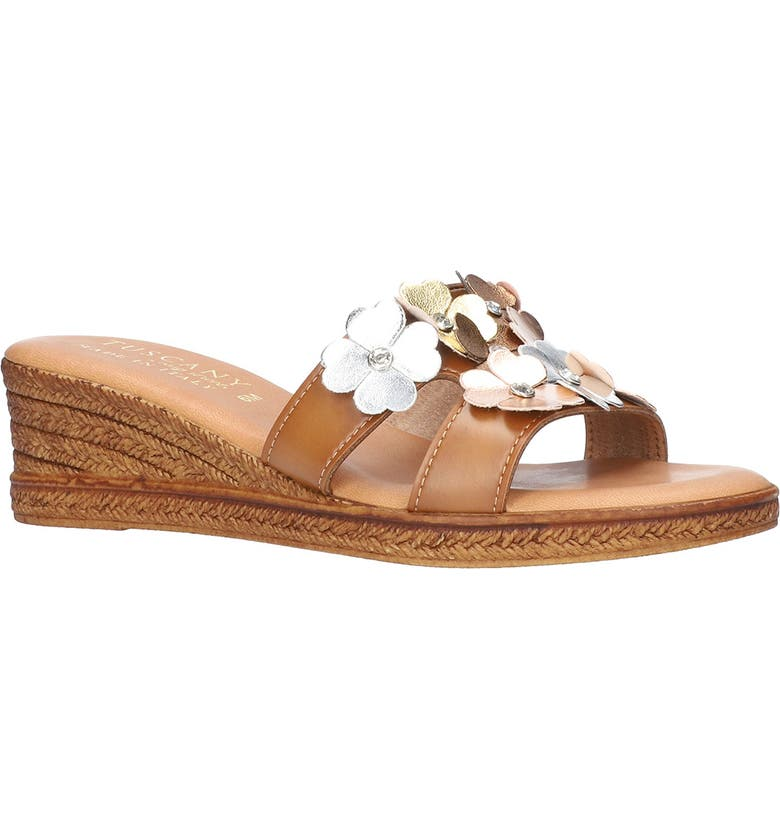 TUSCANY BY EASY STREET<SUP>®</SUP> Lilla Wedge Slide Sandal, Main, color, COGNAC / METALLIC FLOWERS