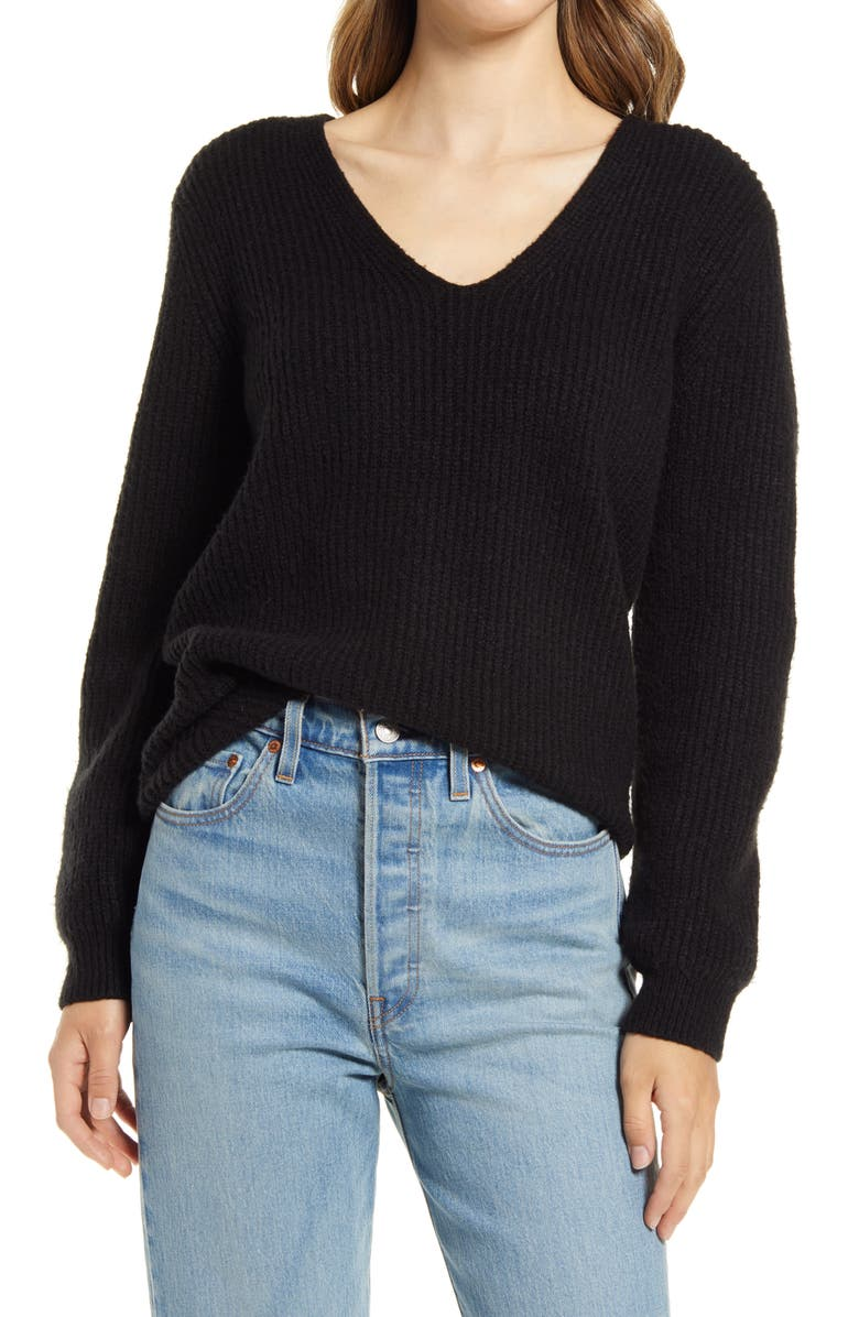 HALOGEN<SUP>®</SUP> Balloon Sleeve Sweater, Main, color, BLACK