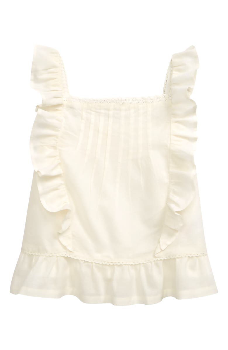 MINI BODEN Kids' Ruffle Woven Top, Main, color, IVORY