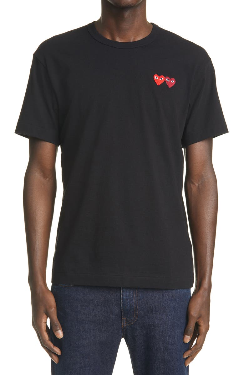 COMME DES GARÇONS PLAY Twin Hearts Slim Fit Jersey T-Shirt, Main, color, BLACK