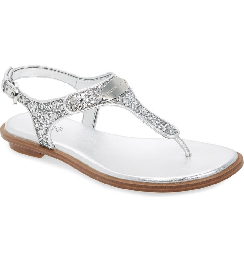 MICHAEL MICHAEL KORS 'Plate' Thong Sandal, Main, color, SILVER GLITTER/ LEATHER