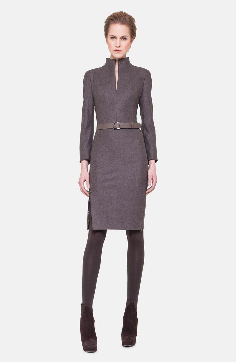 AKRIS Belted Stretch Flannel Dress, Main, color, 021