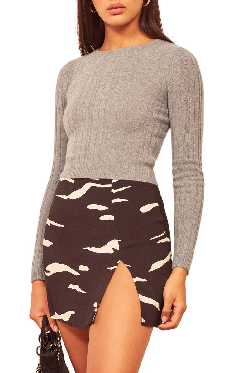 REFORMATION Cashmere & Wool Crop Sweater, Main, color, 025
