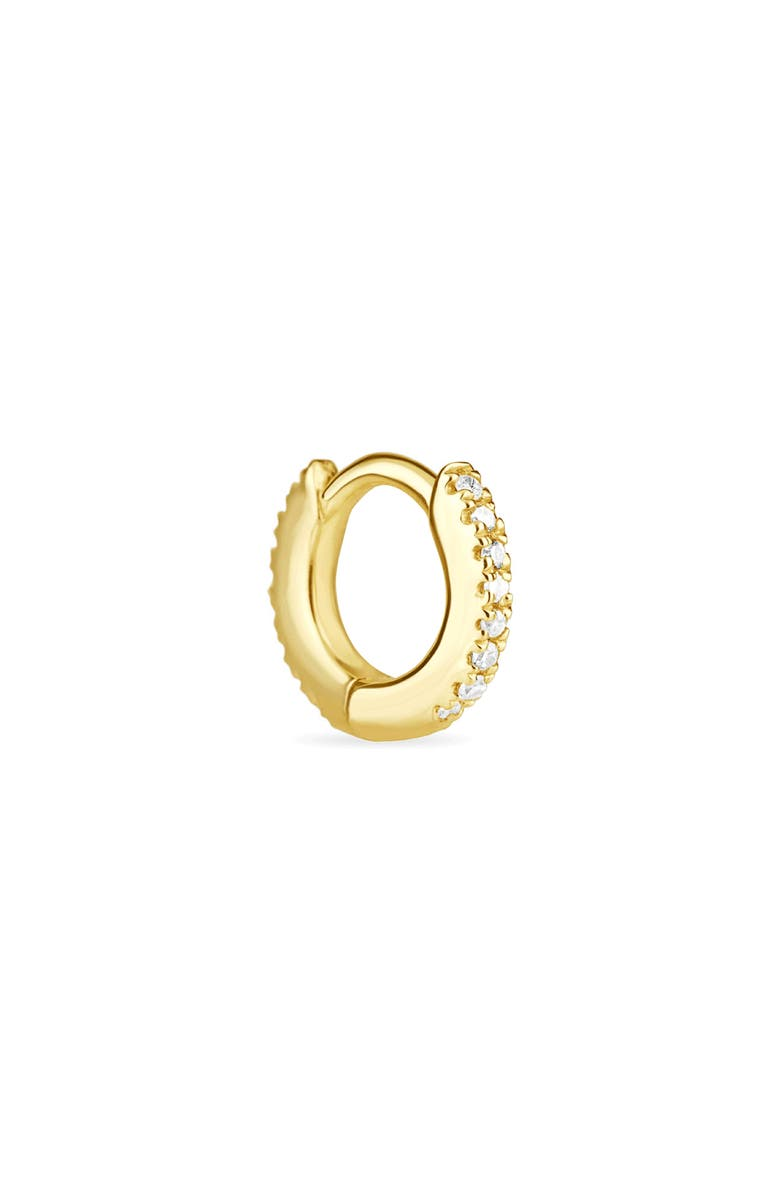 STONE AND STRAND Second Hole Pavè Diamond Huggie Hoop Earring, Main, color, YELLOW GOLD