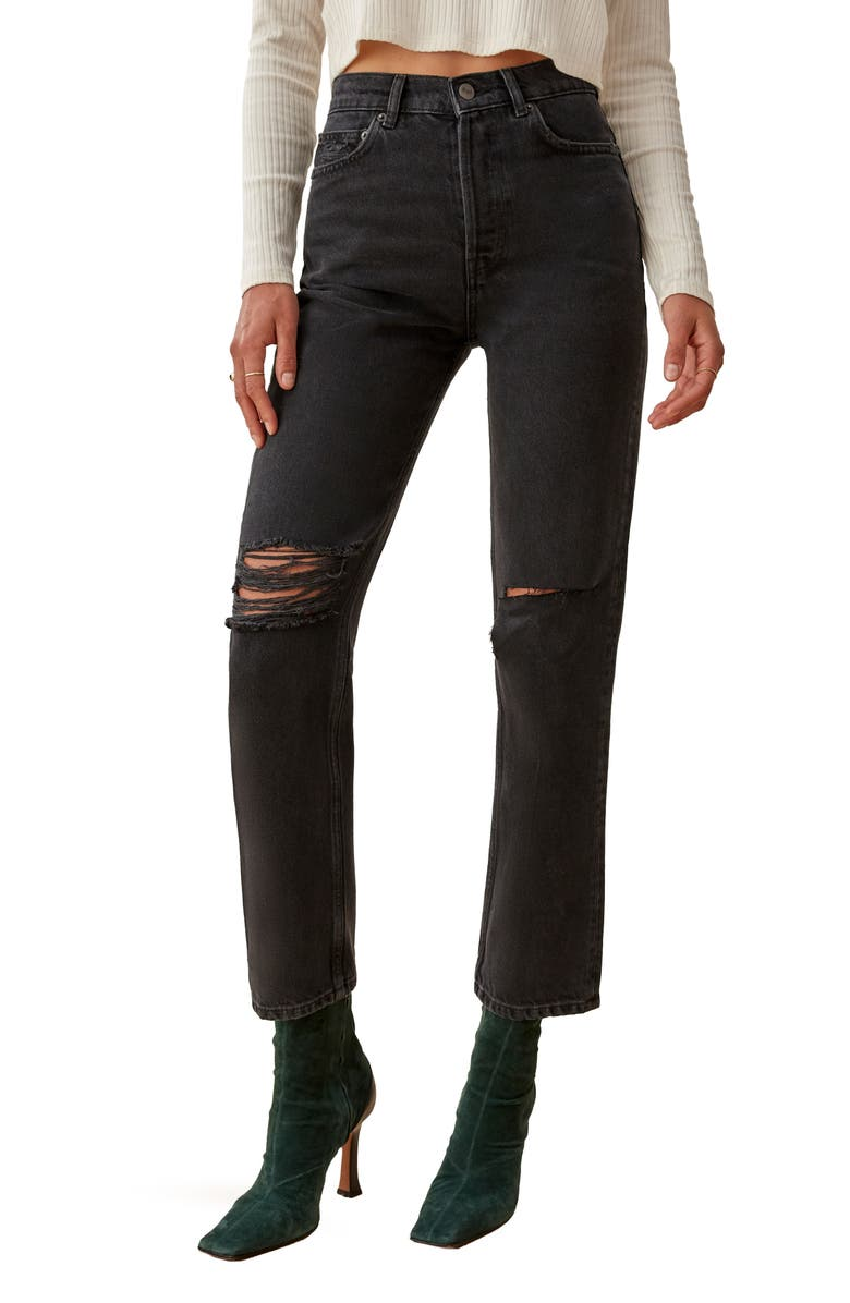 REFORMATION Cynthia High Waist Relaxed Jeans, Main, color, LAGOON DESTROYED