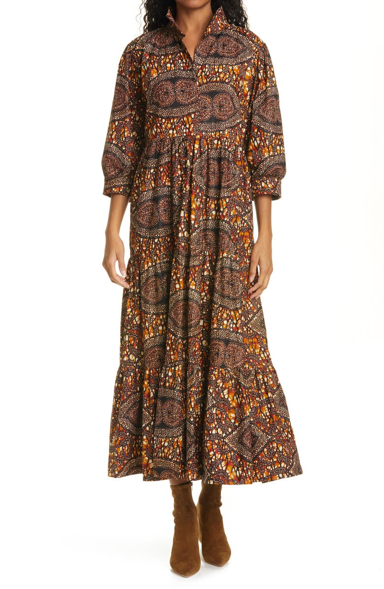 THE OULA COMPANY Print Tiered Dress, Main, color, TOFFEE PAISLEY