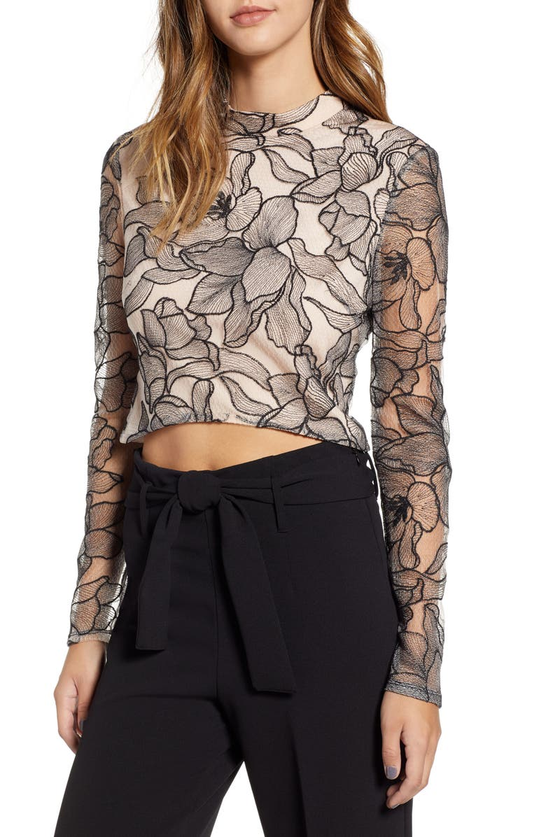 WAYF Mina Cropped Lace Top, Main, color, 001