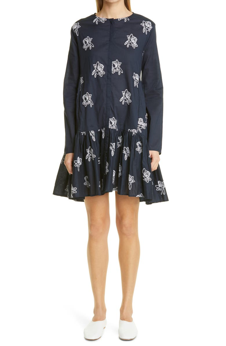 MERLETTE Caliza Embroidered Long Sleeve Dress, Main, color, NAVY/ WHITE