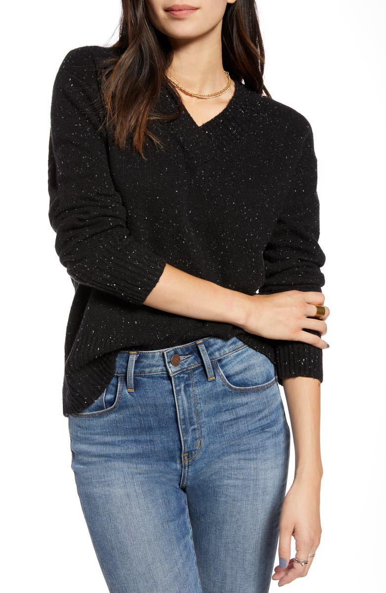 TREASURE & BOND Cozy Nep Flecked V-Neck Sweater, Main, color, 001