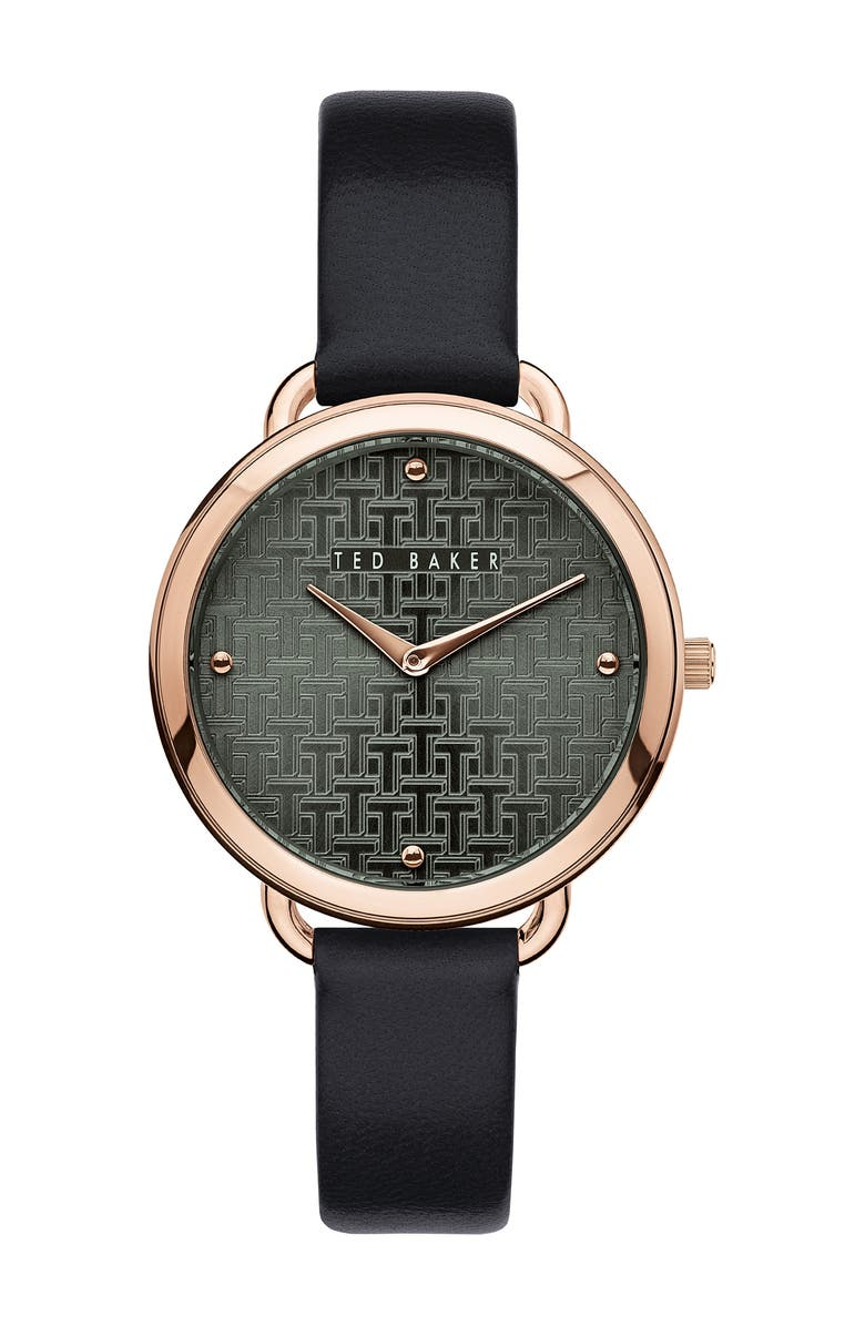 TED BAKER LONDON Women's Hettie 3-Hand Leather Strap Watch, 37mm, Main, color, ROSE GOLD/ GREEN/ BLACK