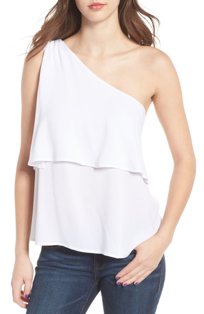 BP. One-Shoulder Top, Main, color, White