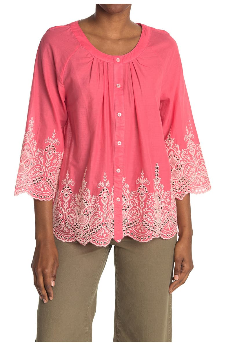 FORGOTTEN GRACE Button Front 3/4 Sleeve Embroidered Blouse, Main, color, CORAL