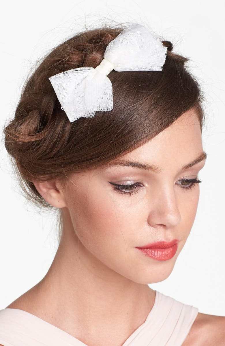 WHICHGOOSE Point d'Esprit Bow Clip, Main, color, White