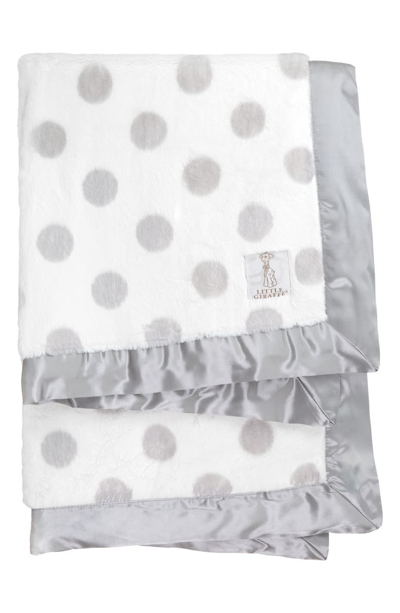LITTLE GIRAFFE Luxe<sup>™</sup> Dream Dot Faux Fur Baby Blanket, Main, color, SILVER