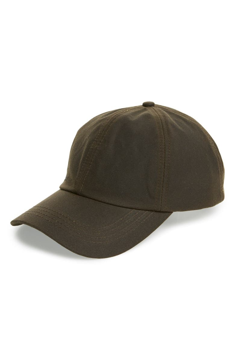 BARBOUR Waxed Cotton Baseball Cap, Main, color, OLIVE