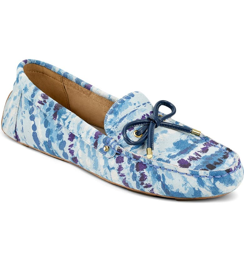 AEROSOLES Brookhaven Leather Moccasin - Wide Width Available, Main, color, BLUE COMBO