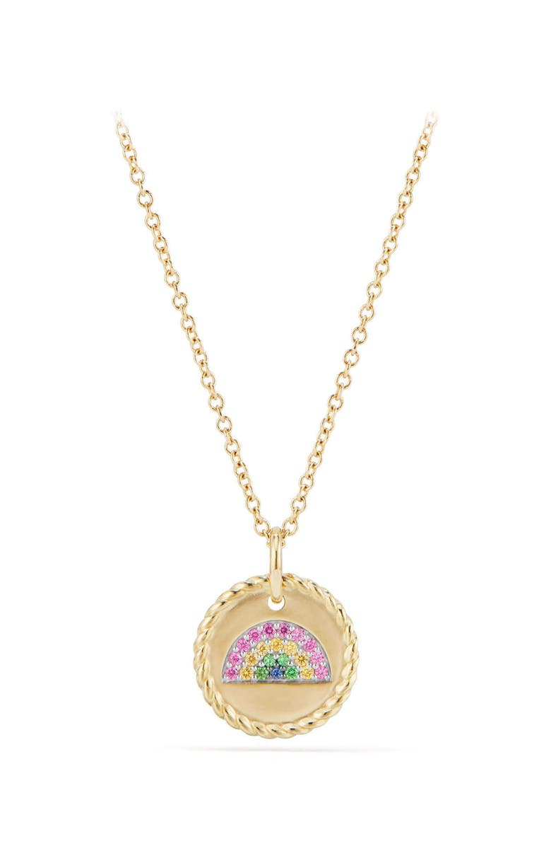 DAVID YURMAN Cable Collectibles Rainbow Necklace with Pink & Yellow Sapphires & Tsavorite in 18K Gold, Main, color, GOLD/ PINK SAPPHIRE