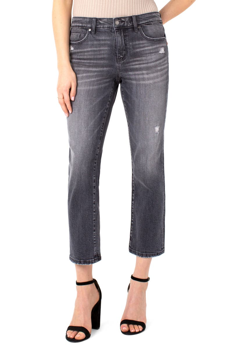 LIVERPOOL LOS ANGELES Ripped Straight Leg Crop Jeans, Main, color, SPENCER