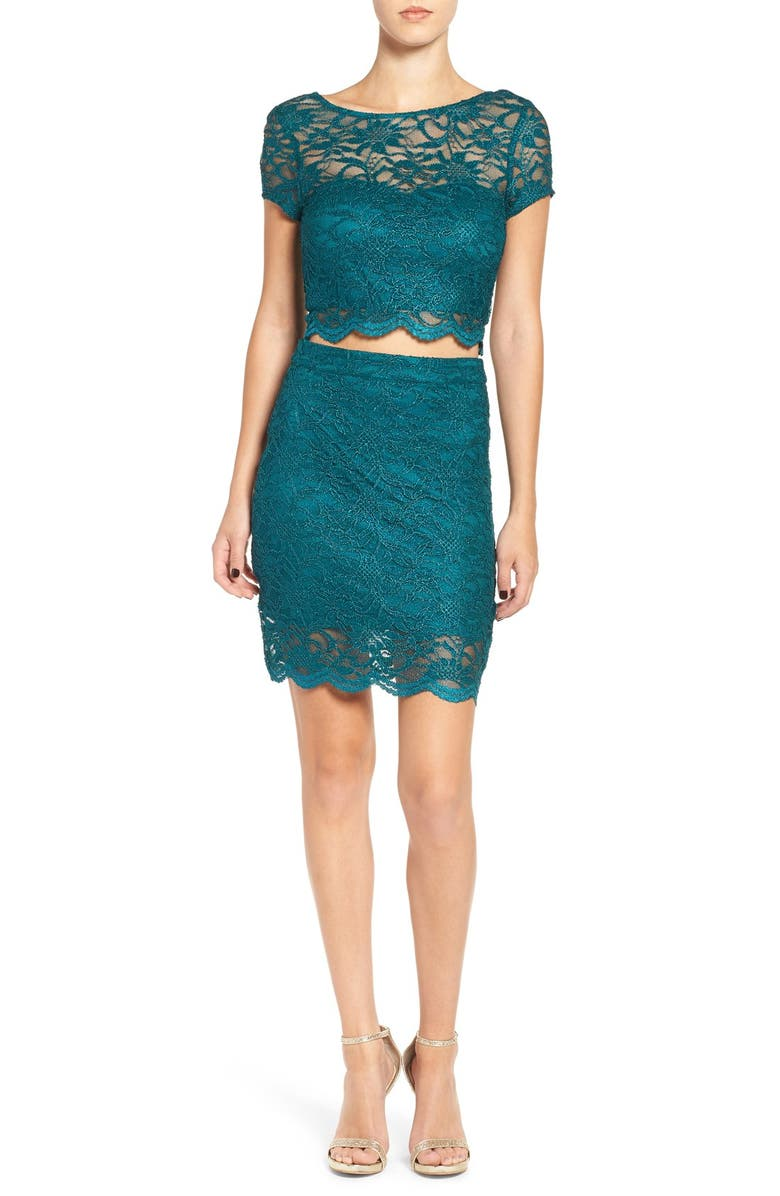 SPEECHLESS Two-Piece Lace Body-Con Dress, Main, color, DEEP TEAL