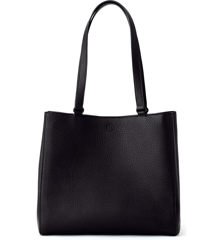 DAGNE DOVER Medium Allyn Leather Tote, Main, color, ONYX