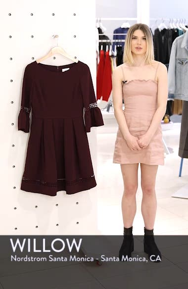 Bell Sleeve Lace Inset Fit & Flare Dress, sales video thumbnail