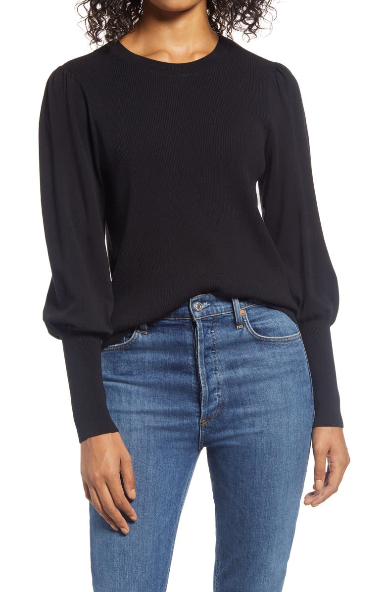 HALOGEN<SUP>®</SUP> Puff Sleeve Sweater, Main, color, BLACK