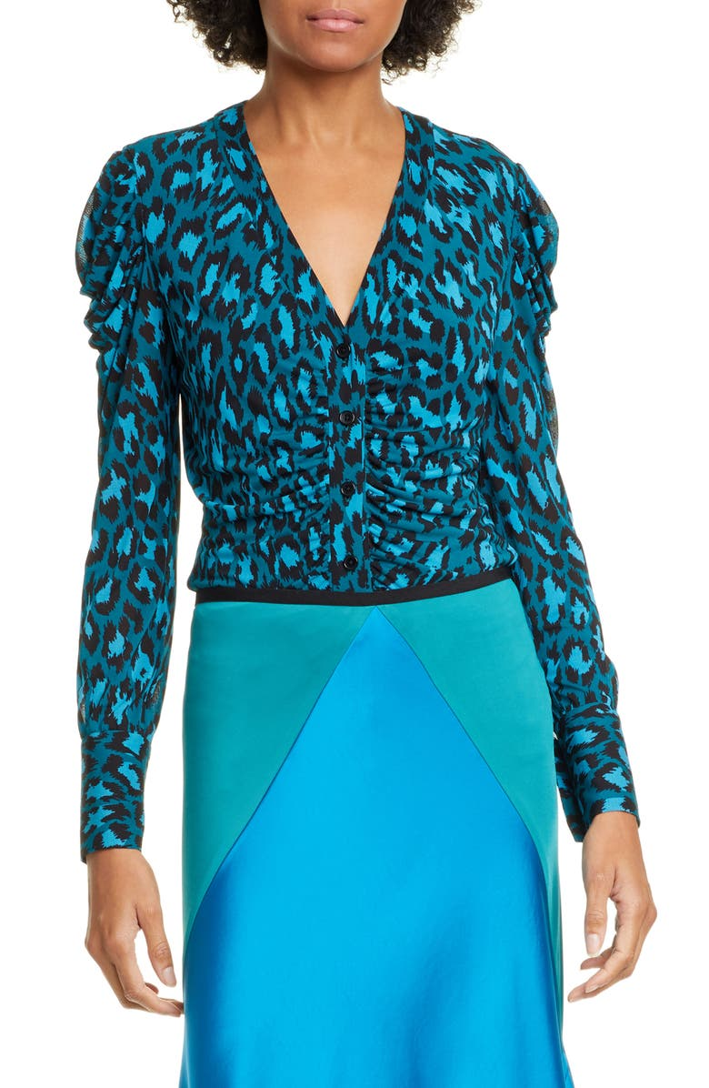 DVF Gladys Ruched Sleeve Leopard Print Blouse, Main, color, 440