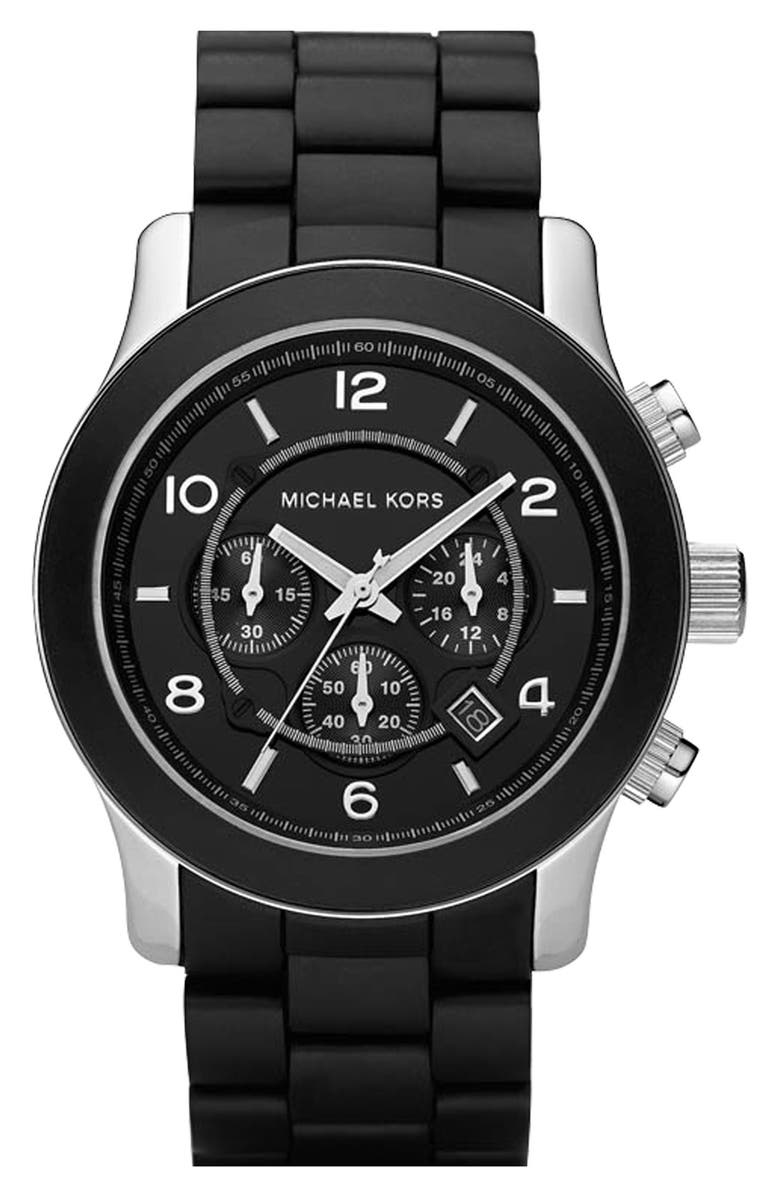 MICHAEL MICHAEL KORS Michael Kors 'Large Runway Silicone Wrap' Watch, 46mm, Main, color, 001