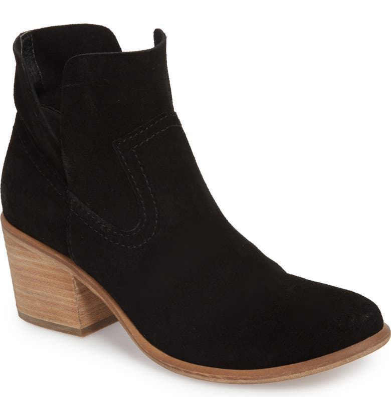 BP. Brice Notched Bootie, Main, color, BLACK SUEDE